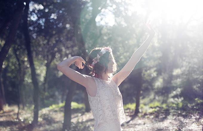 novia en el campo