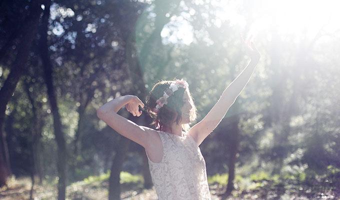 novia rural con vestido