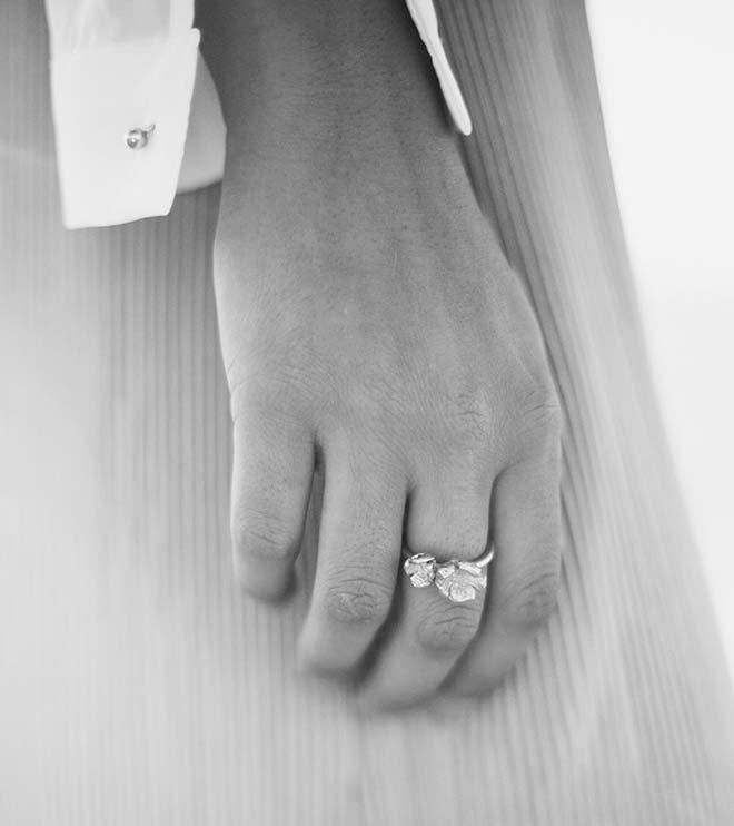 anillo flor doble oro