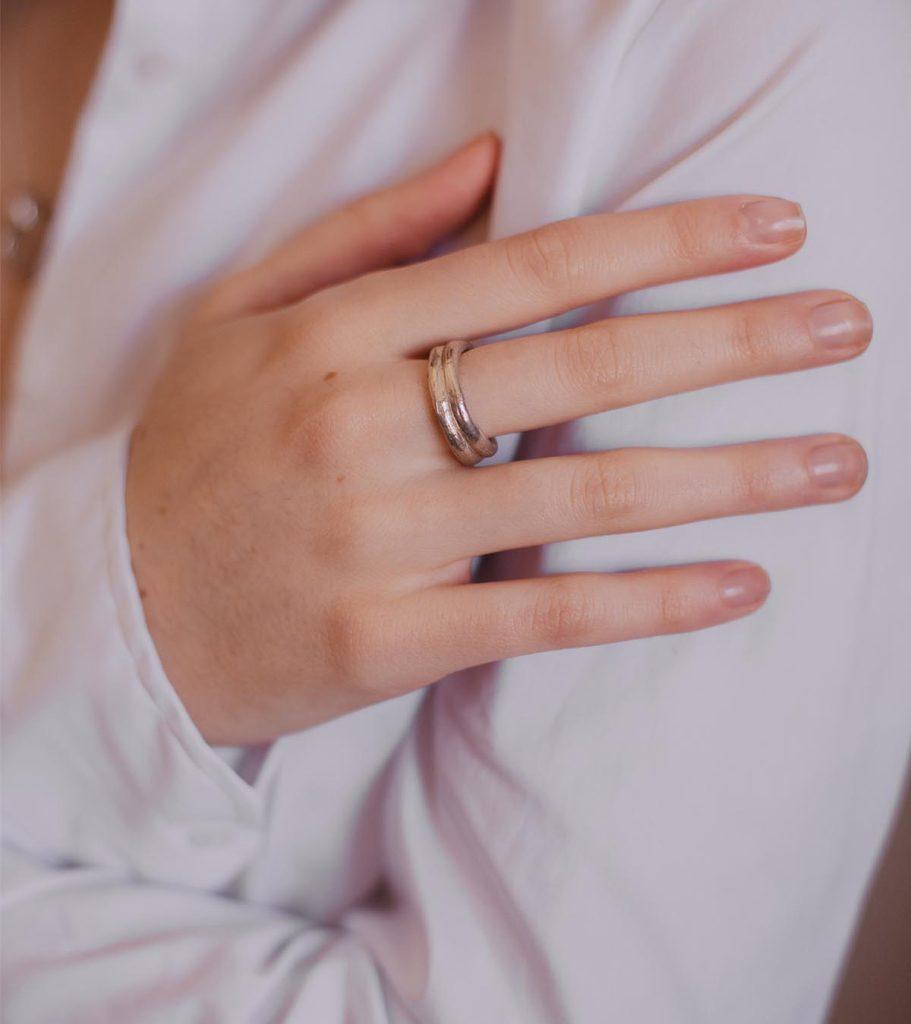 anna anillo doble plata joya