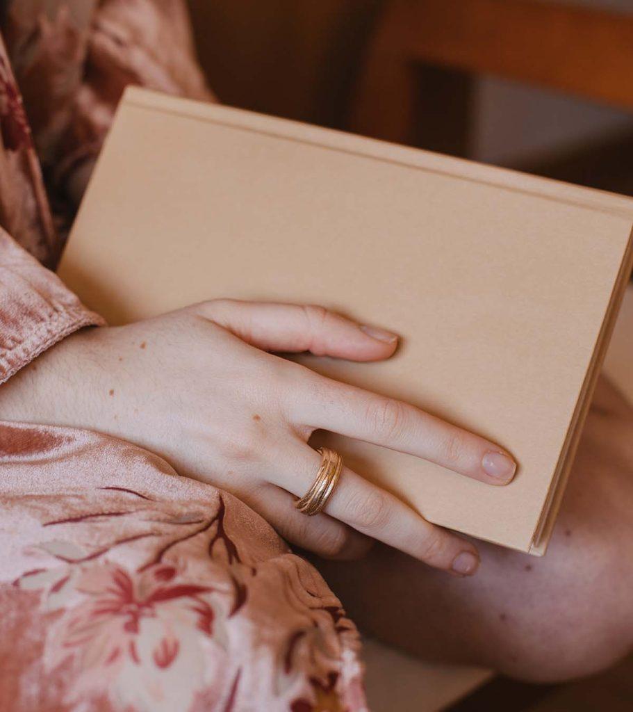 anna anillo artesanal triple en oro